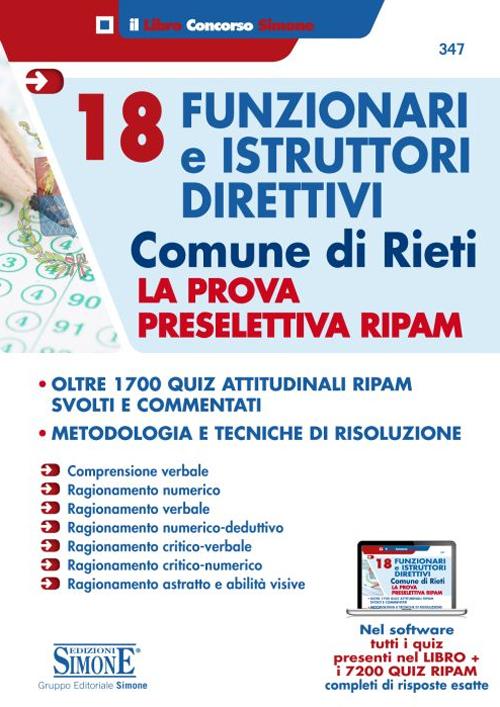 18 funzionari e istruttori direttivi. Comune di Rieti. La prova preselettiva RIPAM. Con software di simulazione