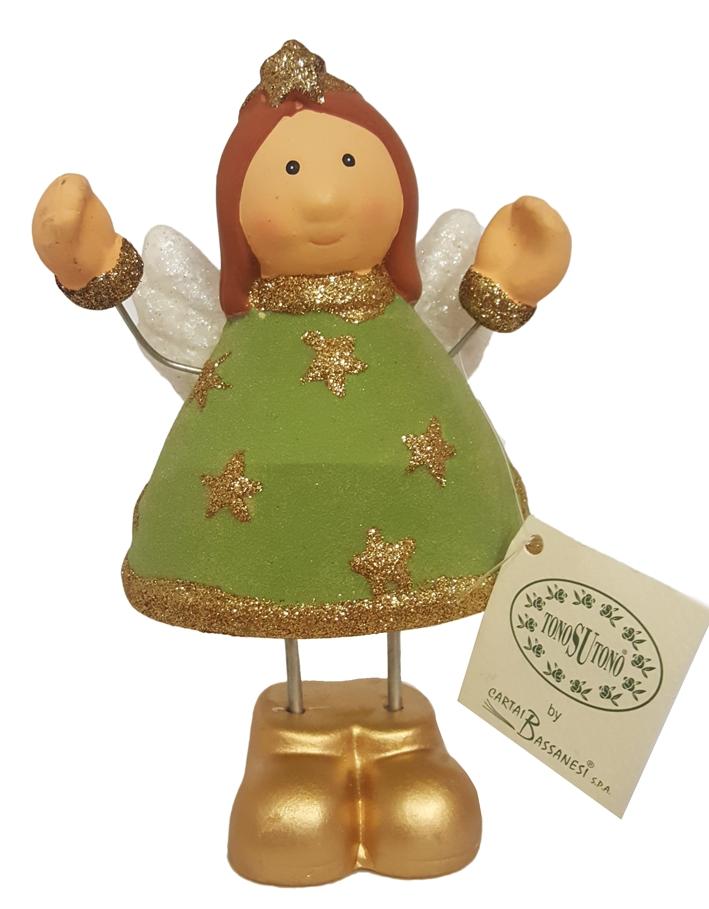 Statuetta nataliazia Angelo in ceramica. Cm 18x10.