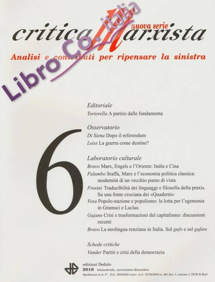 Critica marxista (2016). Vol. 6