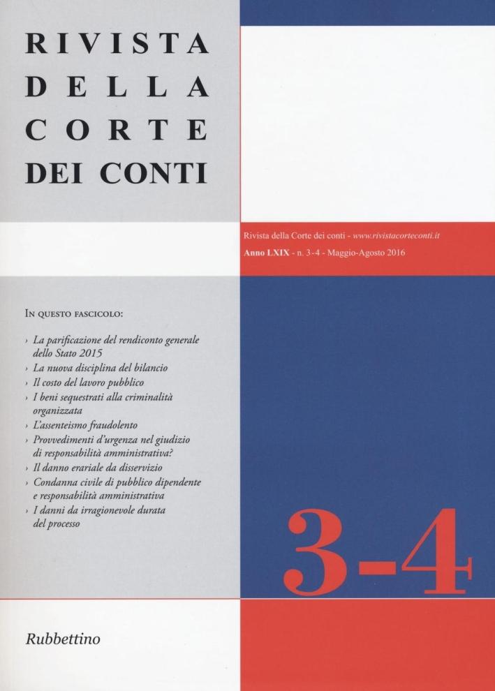 Rivista della Corte dei Conti (2016). Vol. 3-4