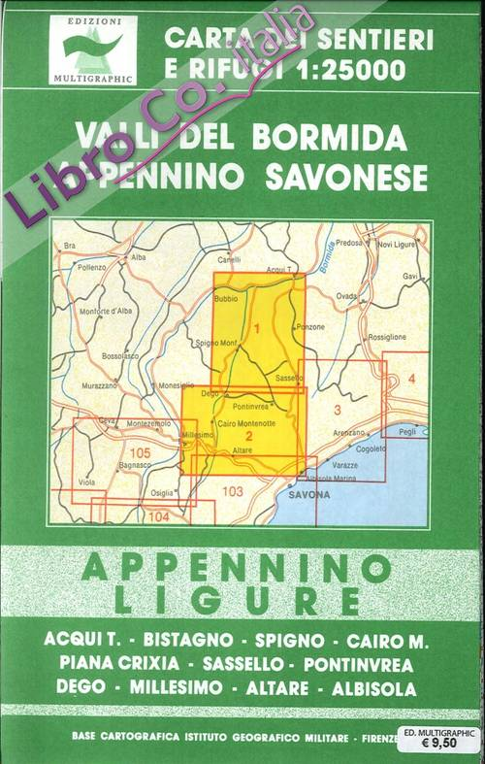 Valli del Bormida, Appennino Savonese. Appennino Ligure. 1-2. Scala 1:25000