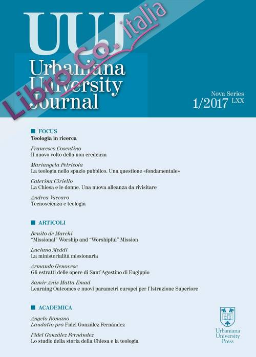 Urbaniana University Journal. Euntes Docete (2017). Vol. 1: Focus: Teologia in ricerca