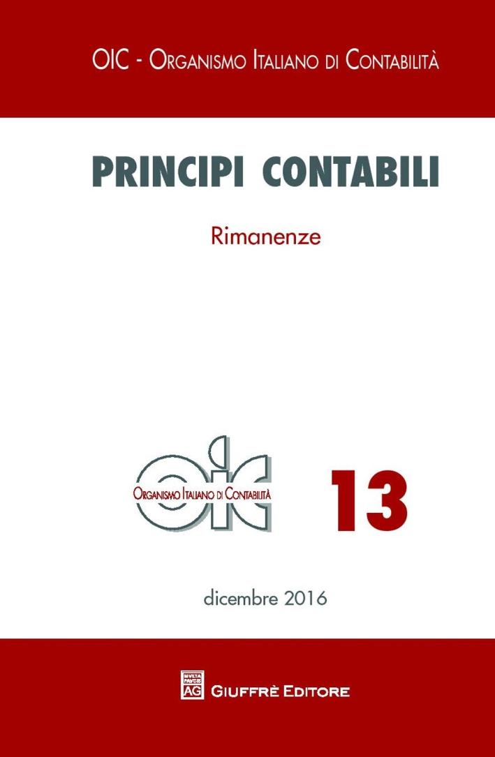 Principi contabili. Vol. 13: Rimanenze