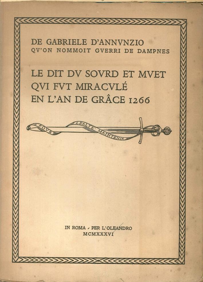 Le Dit Du Sourd Et Muet Qui Fut Miracule En l'An De Grace 1266.