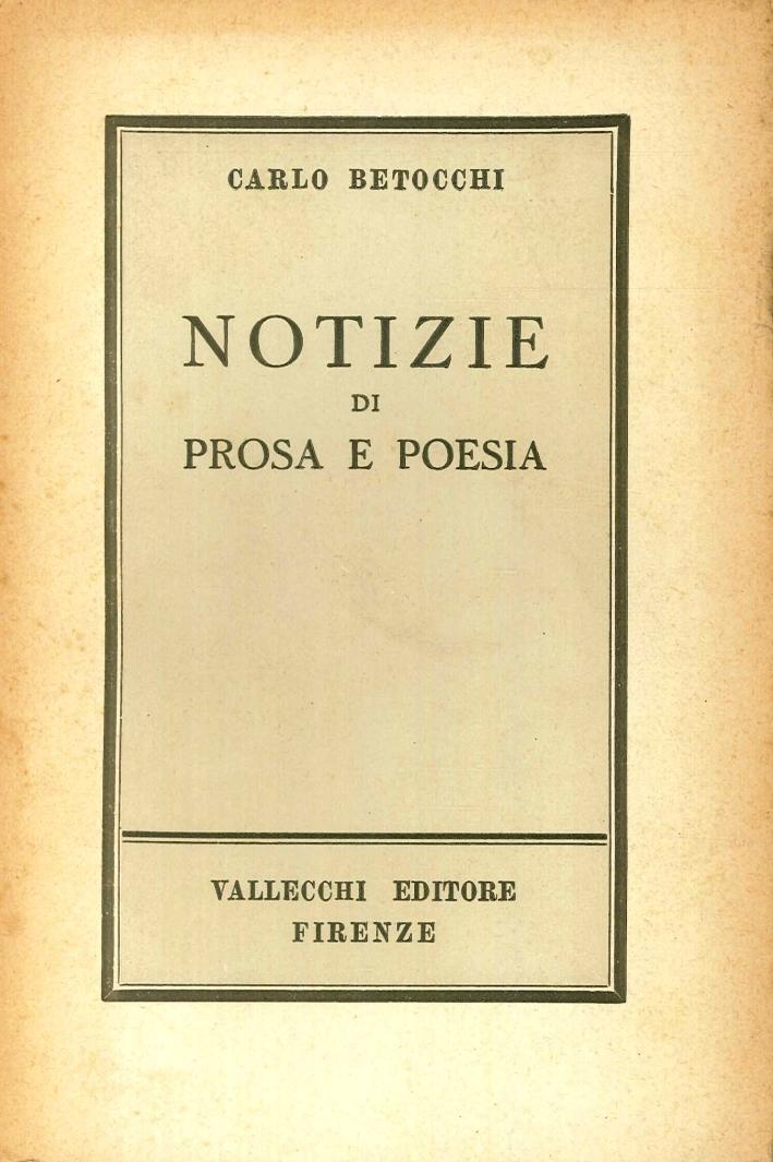 Notizie di Prosa e Poesia