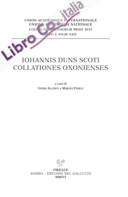 Iohannis Duns Scoti Collationes Oxonienses