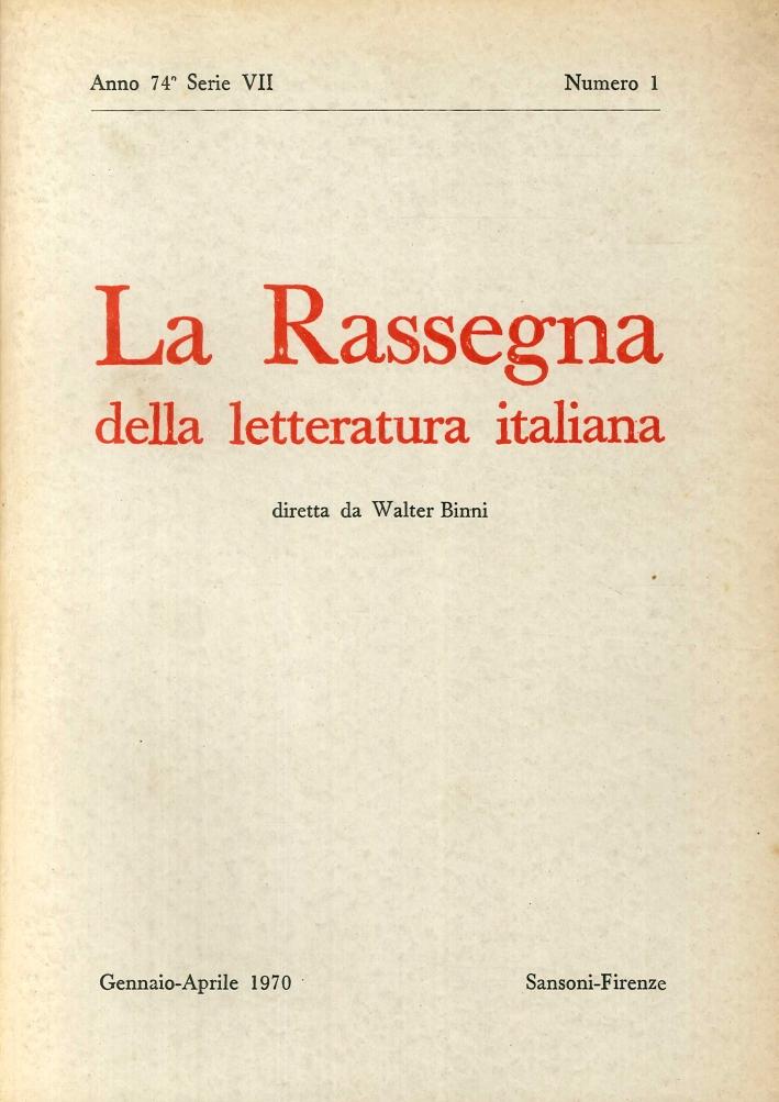 La Rassegna della Letteratura Italiana.