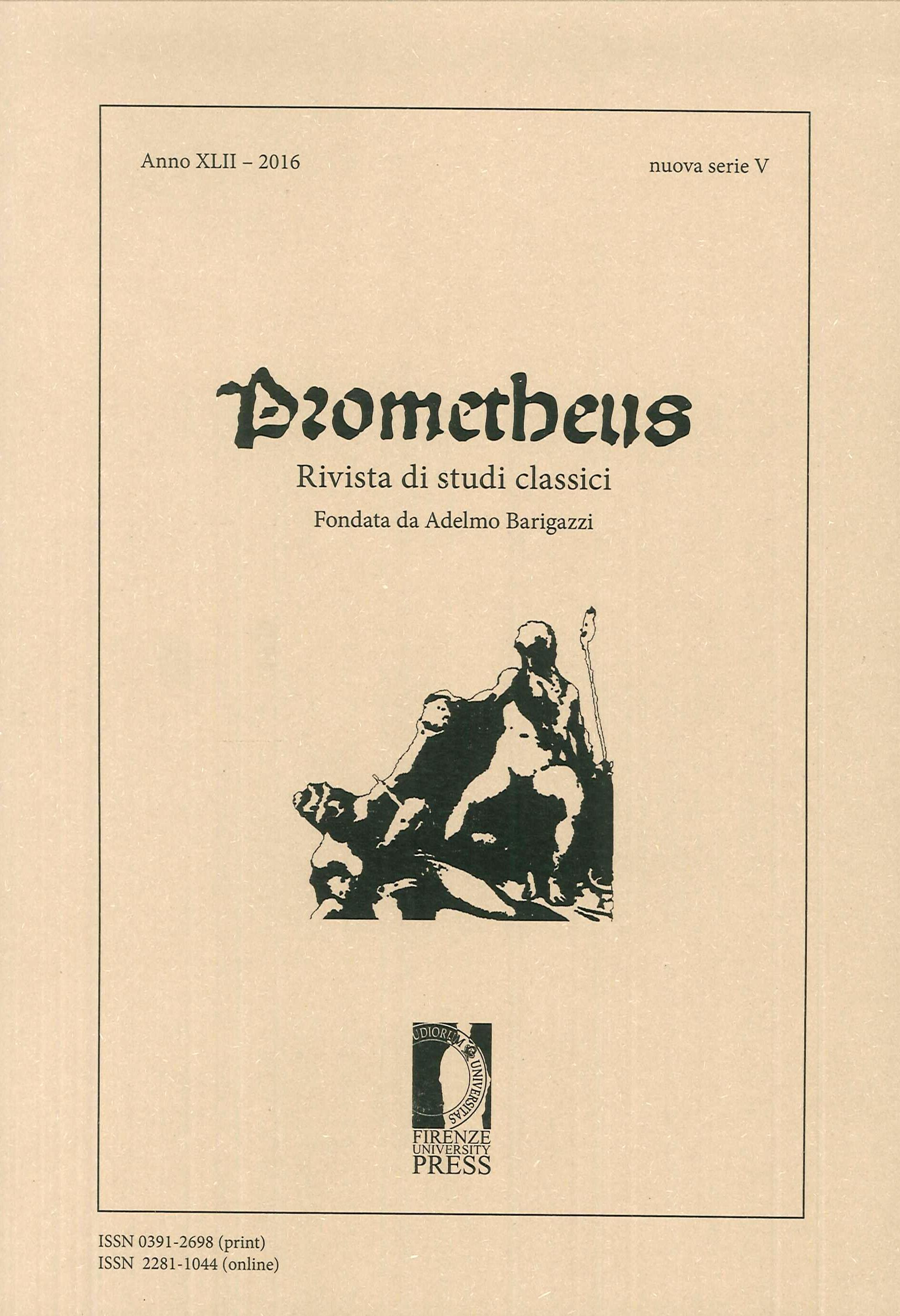 Prometheus. Rivista di studi classici. XLII - 2016.