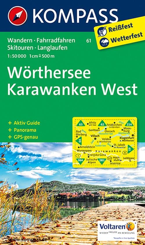 Wanderkarte n. 61. Wörthersee-Karawanken West