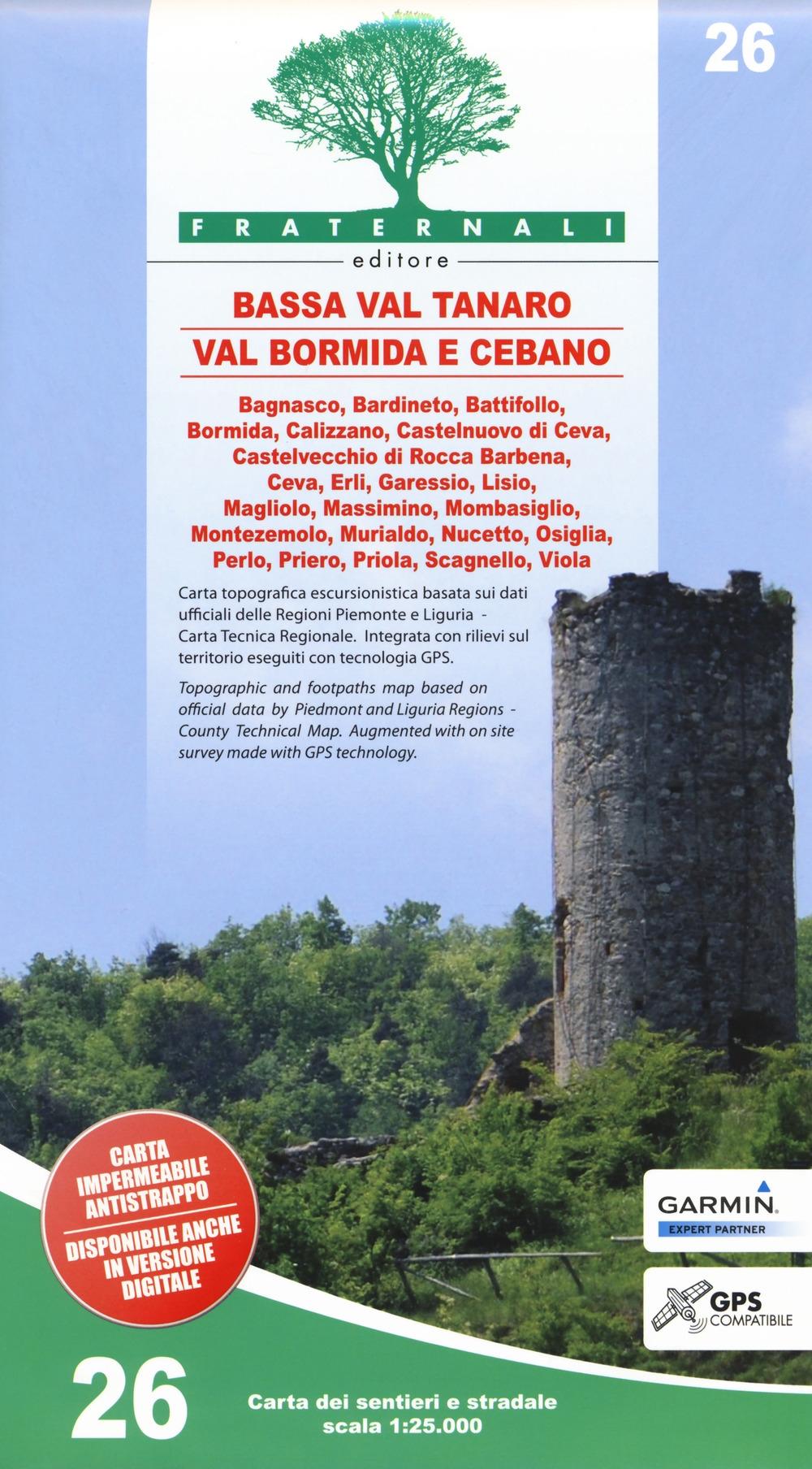 Bassa Val Tanaro, Val Bormida e Cebano. Carta dei sentieri e stradale 1:25.000. Vol.26