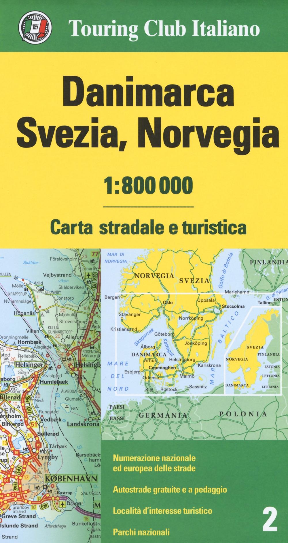 Danimarca, Svezia, Norvegia 1:800.000. Carta stradale e turistica. Ediz. multilingue