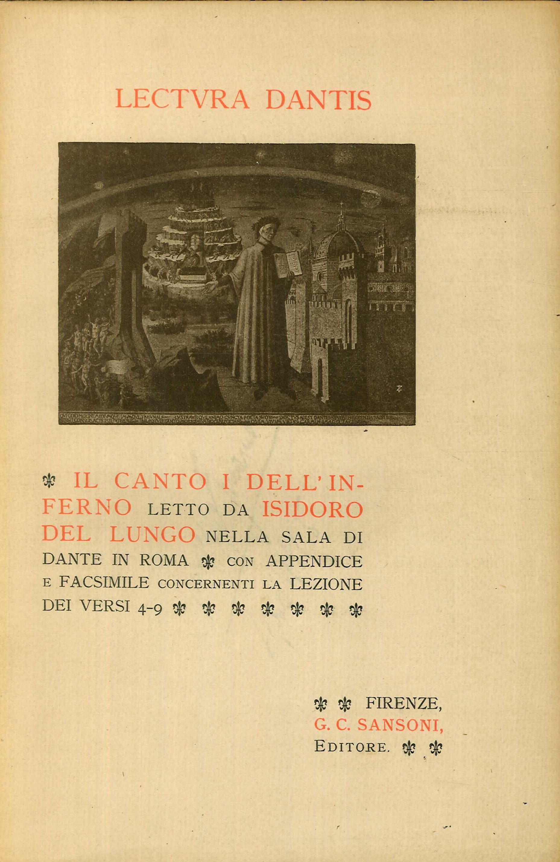 Il Canto i Dell'Inferno Letto Da Isidoro del Lungo nella Sala di Dante a Roma