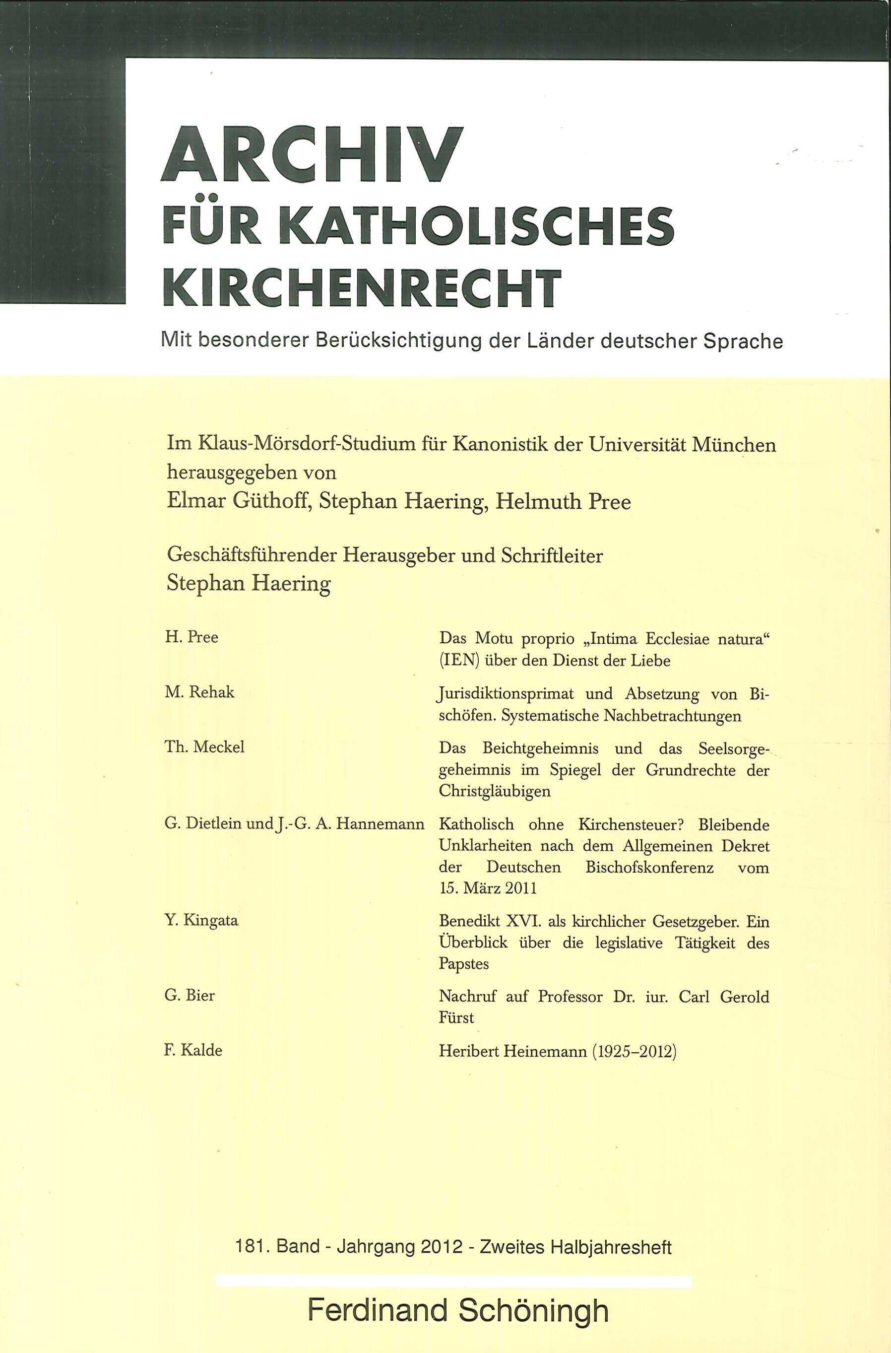 Archiv fuer katholisches Kirchenrecht 181. Jahrgang 2012 Heft 2