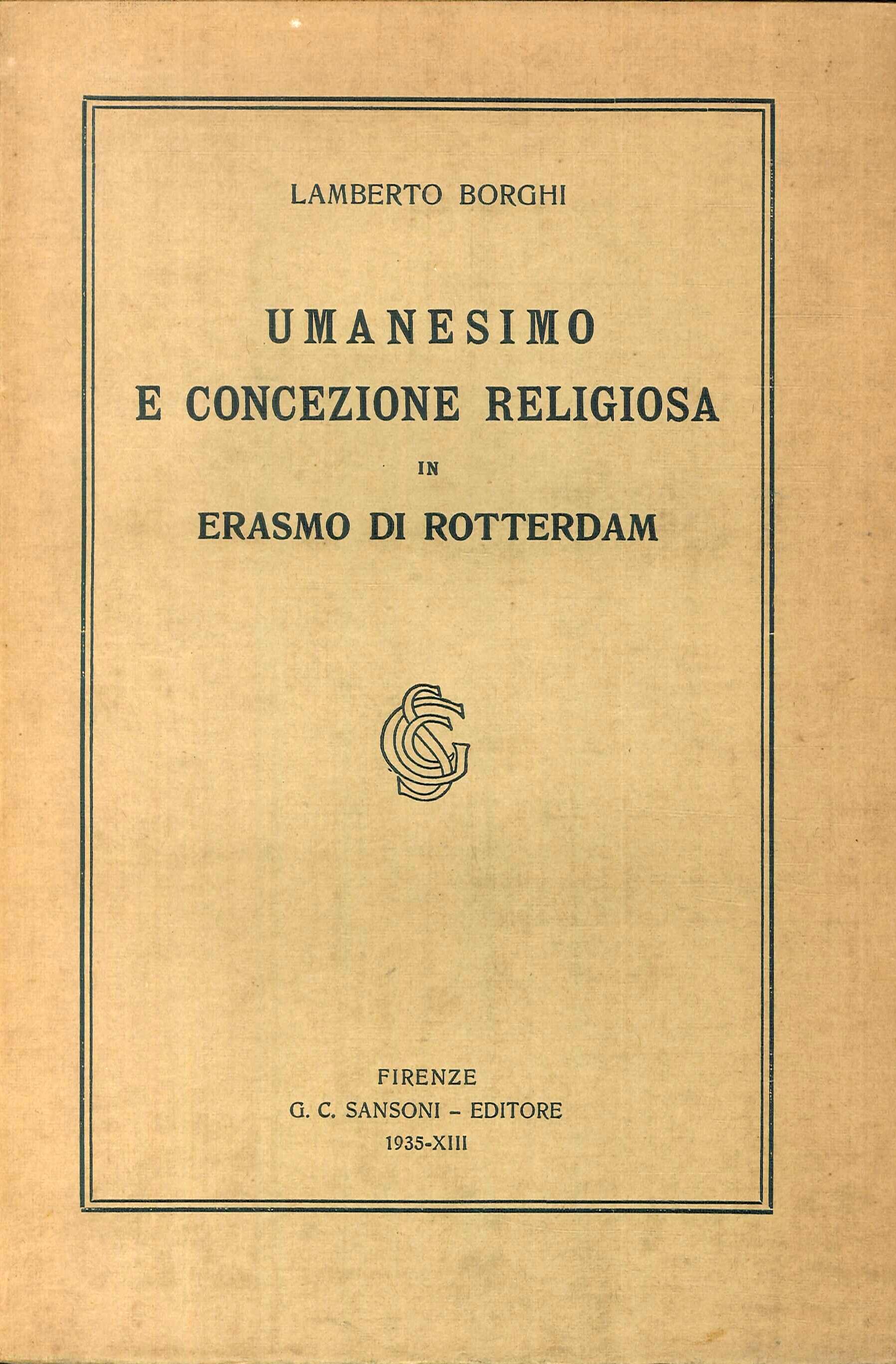 Umanesimo e Concezione Religiosa in Erasmo Da Rotterdam
