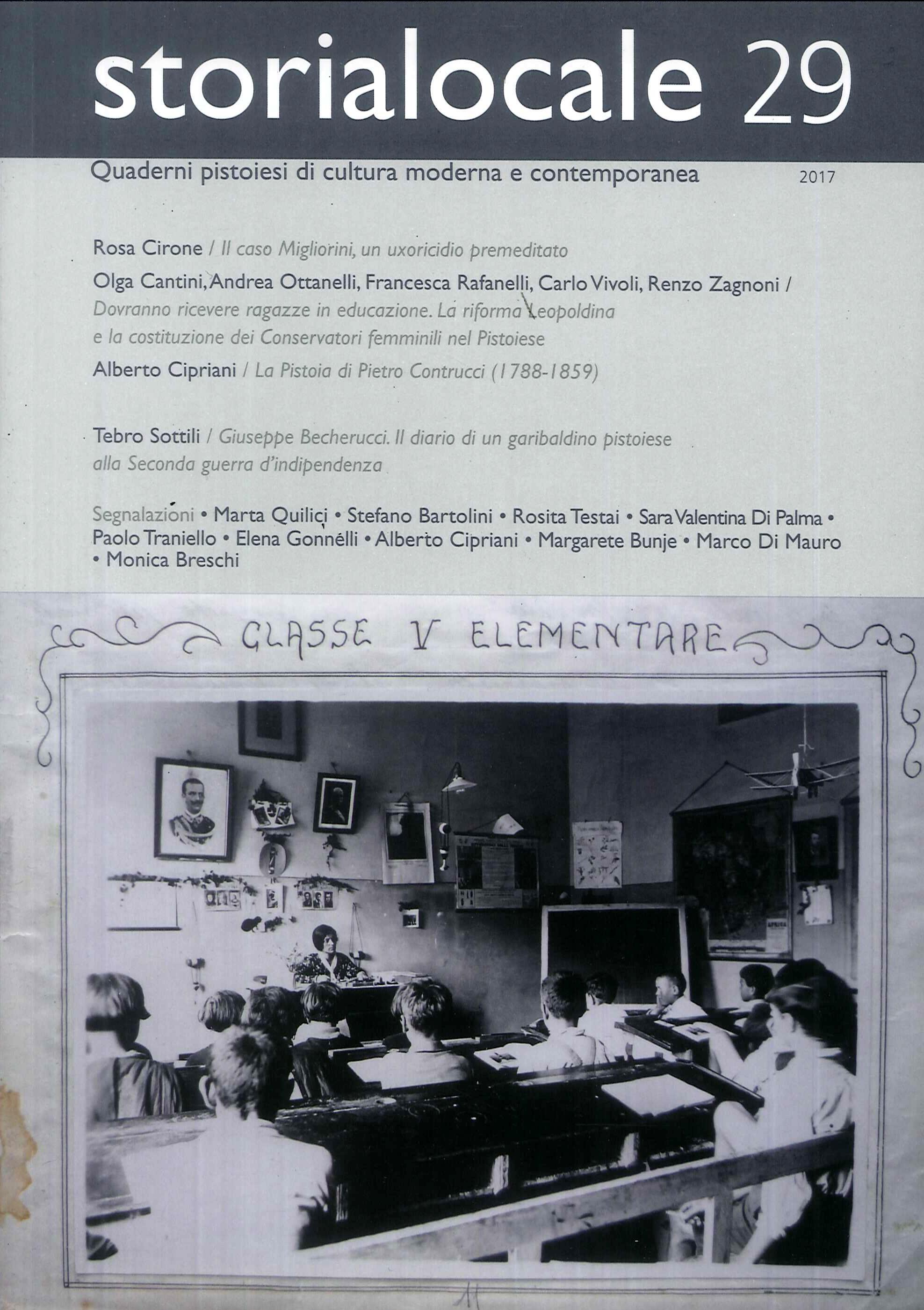 Storialocale. Quaderni pistoiesi di cultura moderna e contemporanea. Vol. 29