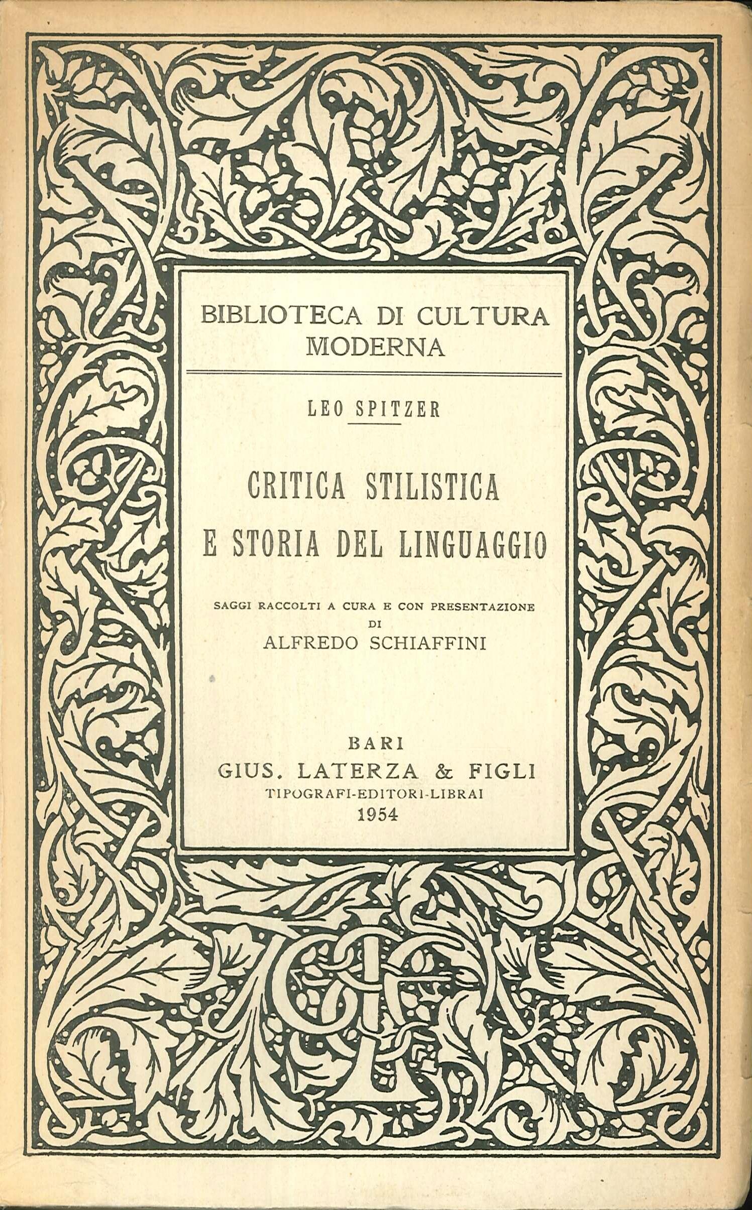 Critica stilistica e storia del linguaggio.