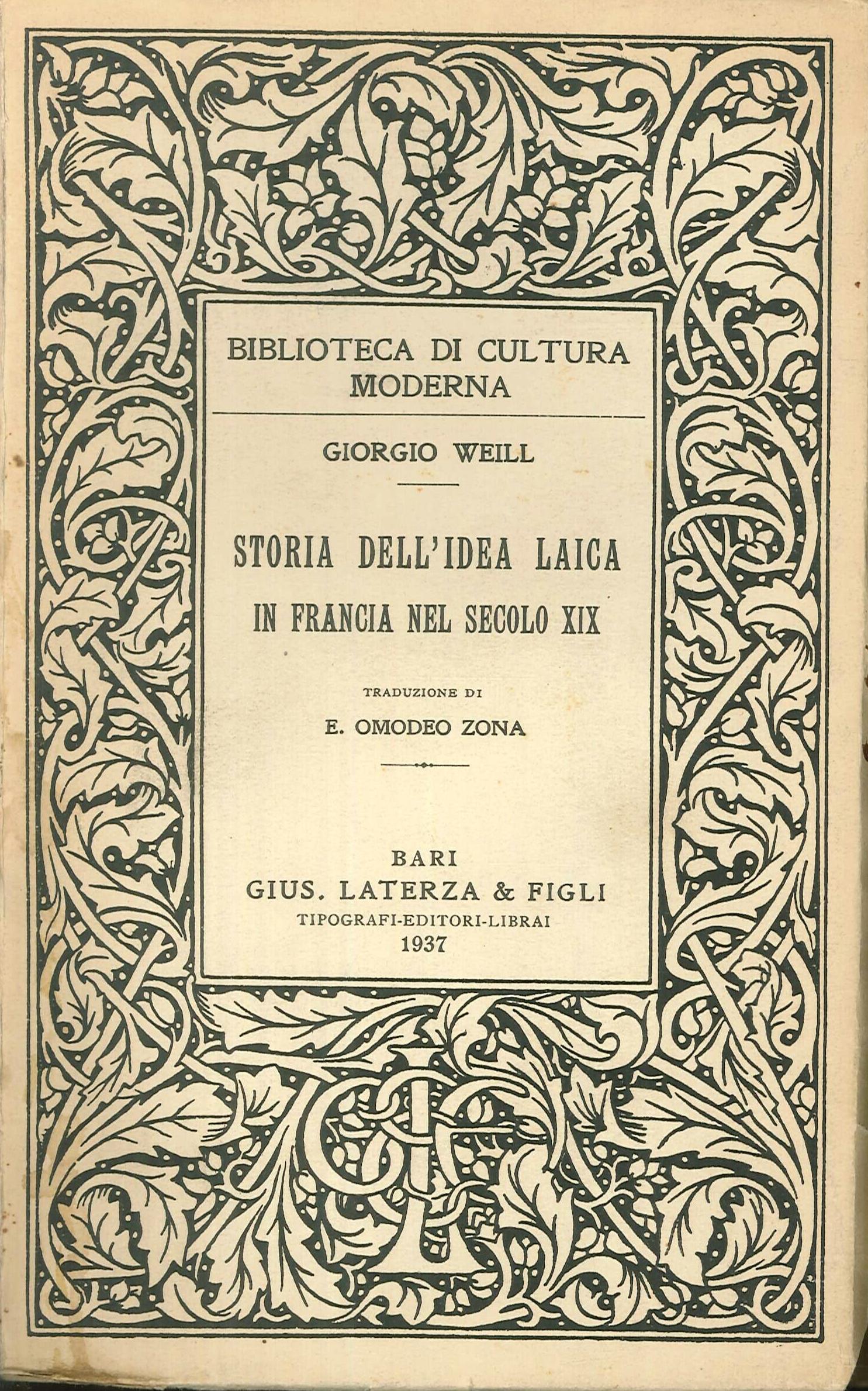 Storia dell'idea laica in Francia nel secolo XIX
