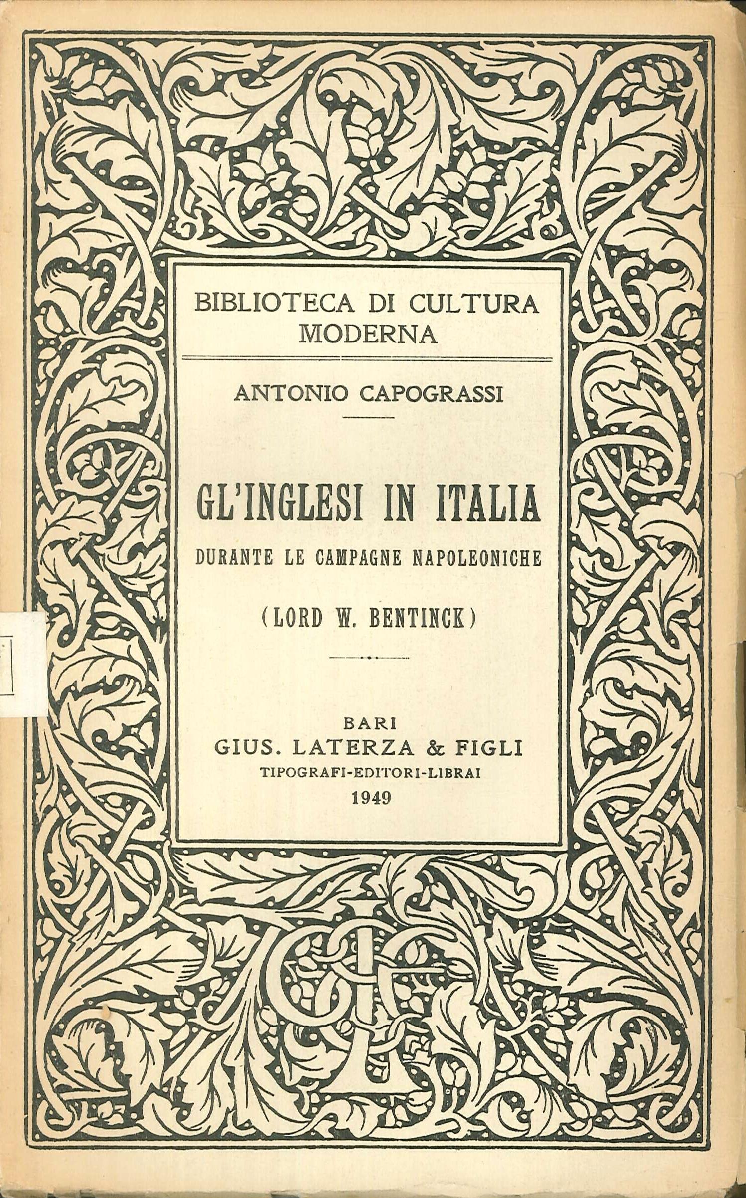 Gli inglesi in Italia durante le campagne napoleoniche (Lord W. Bentinck)