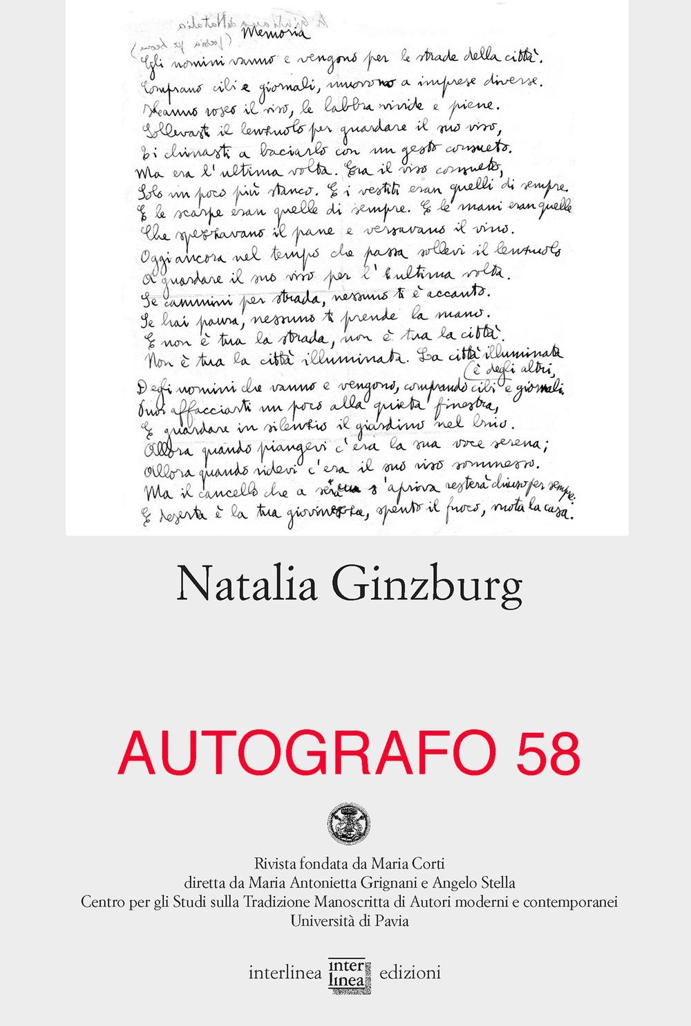 Autografo. Natalia Ginzburg (2017). Vol. 58