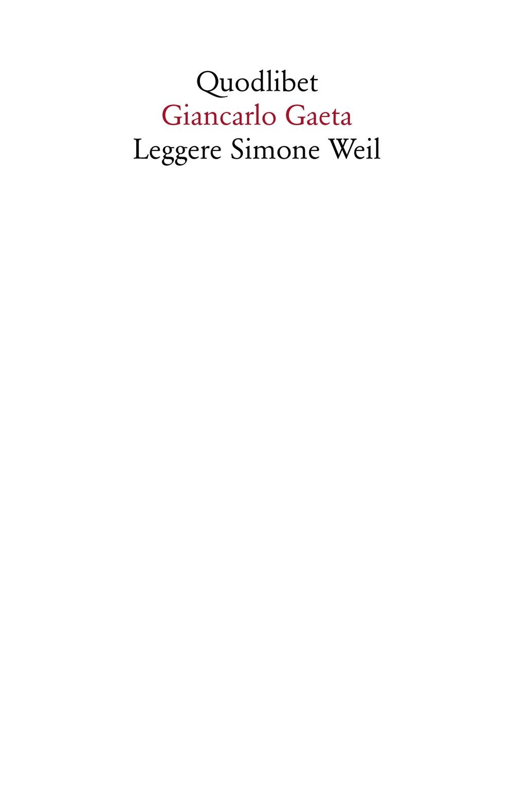 Leggere Simone Weil