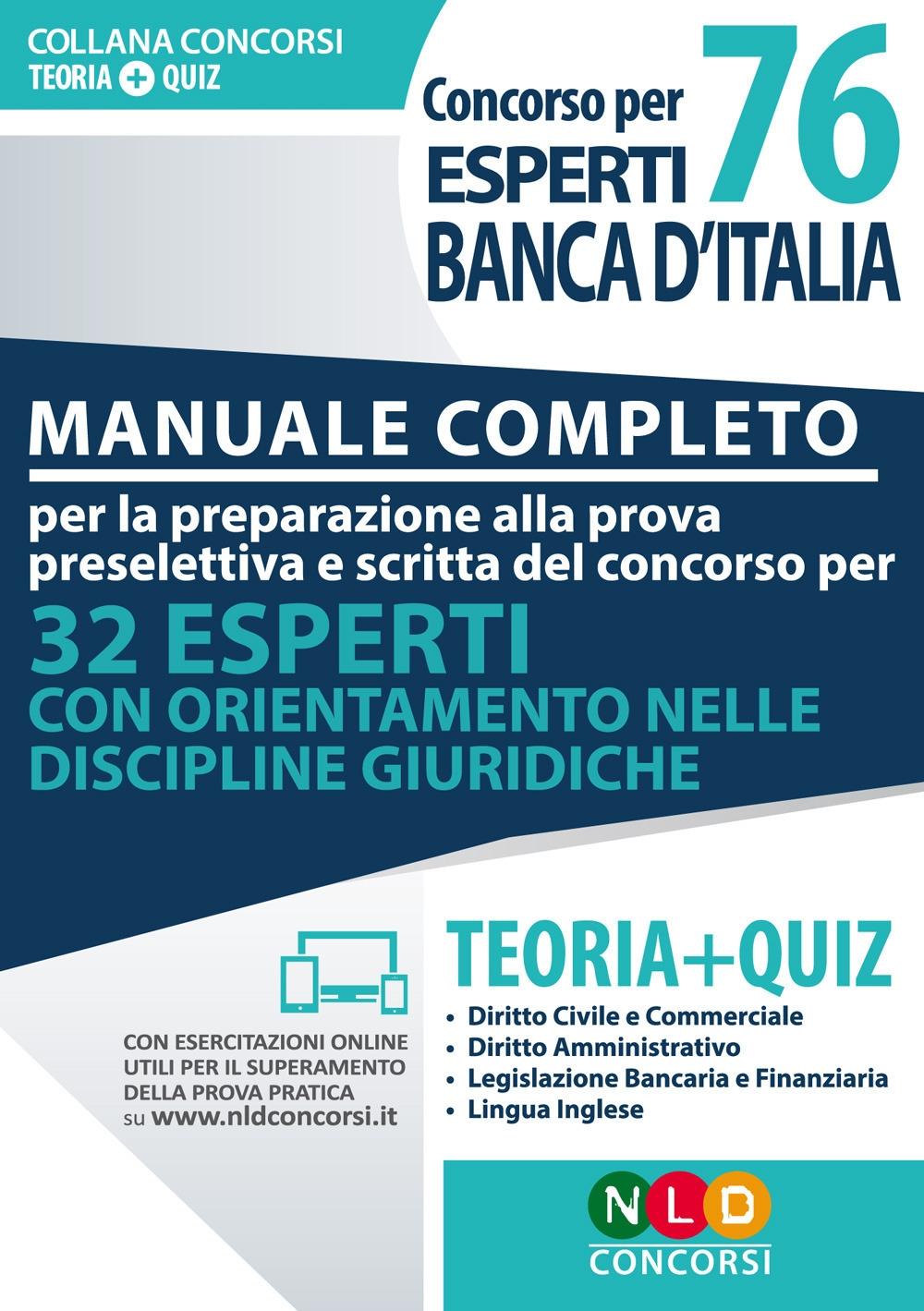 76 esperti Banca d'Italia concorso. Manuale completo