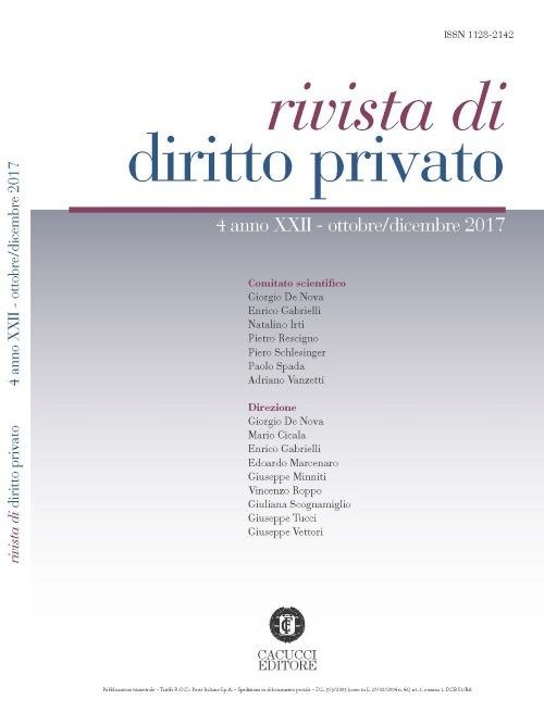 Rivista di diritto privato (2017). Vol. 4: Ottobre-dicembre