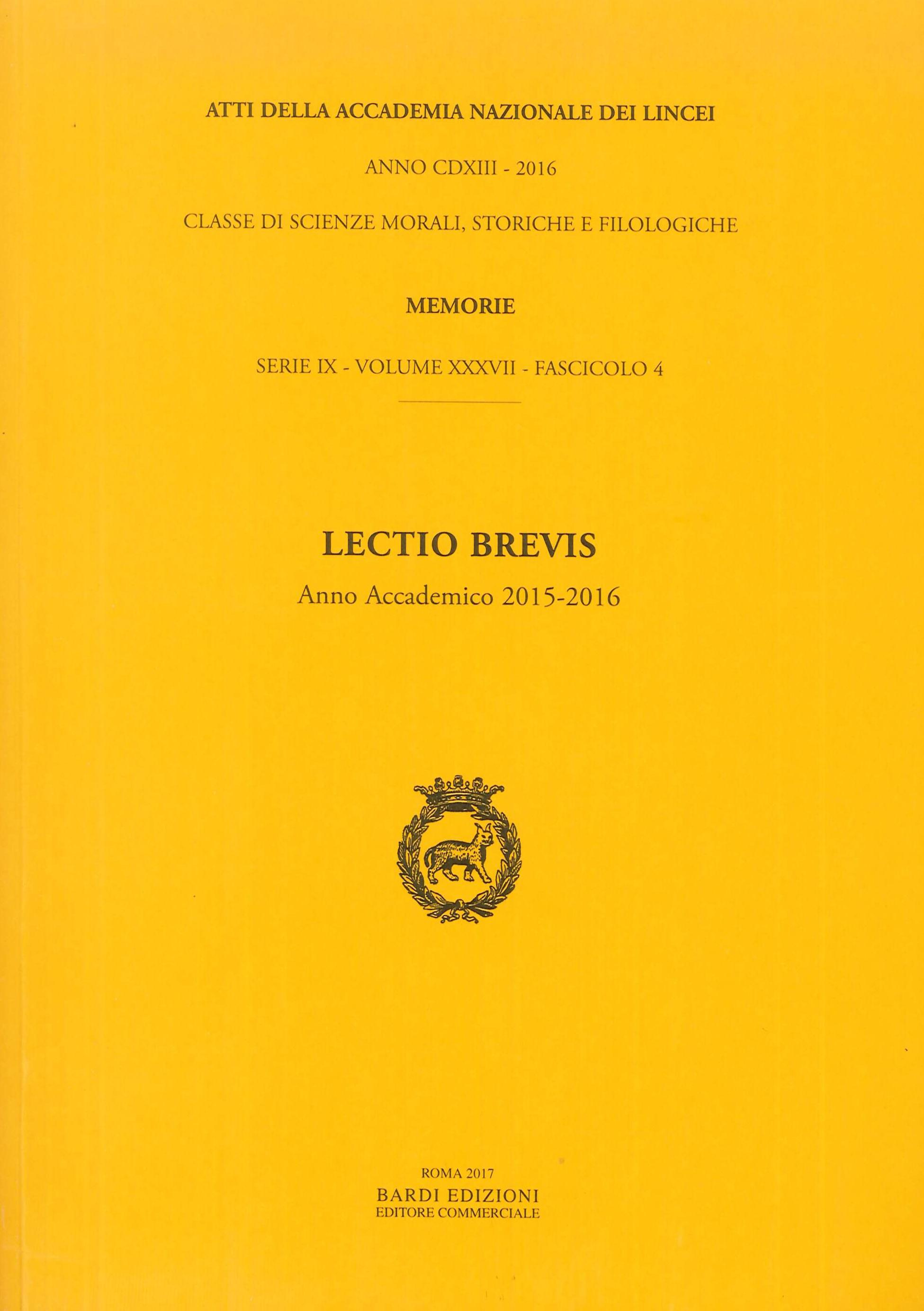 Lectio Brevis. Anno Accademico 2015-2016.