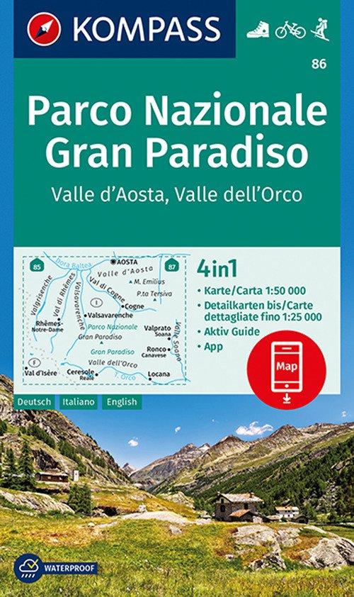 Carta escursionistica n. 86. Parco Nazionale Gran Paradiso. Valle d'Aosta, Valle dell'Orco 1:50.000. Ediz. multilingue