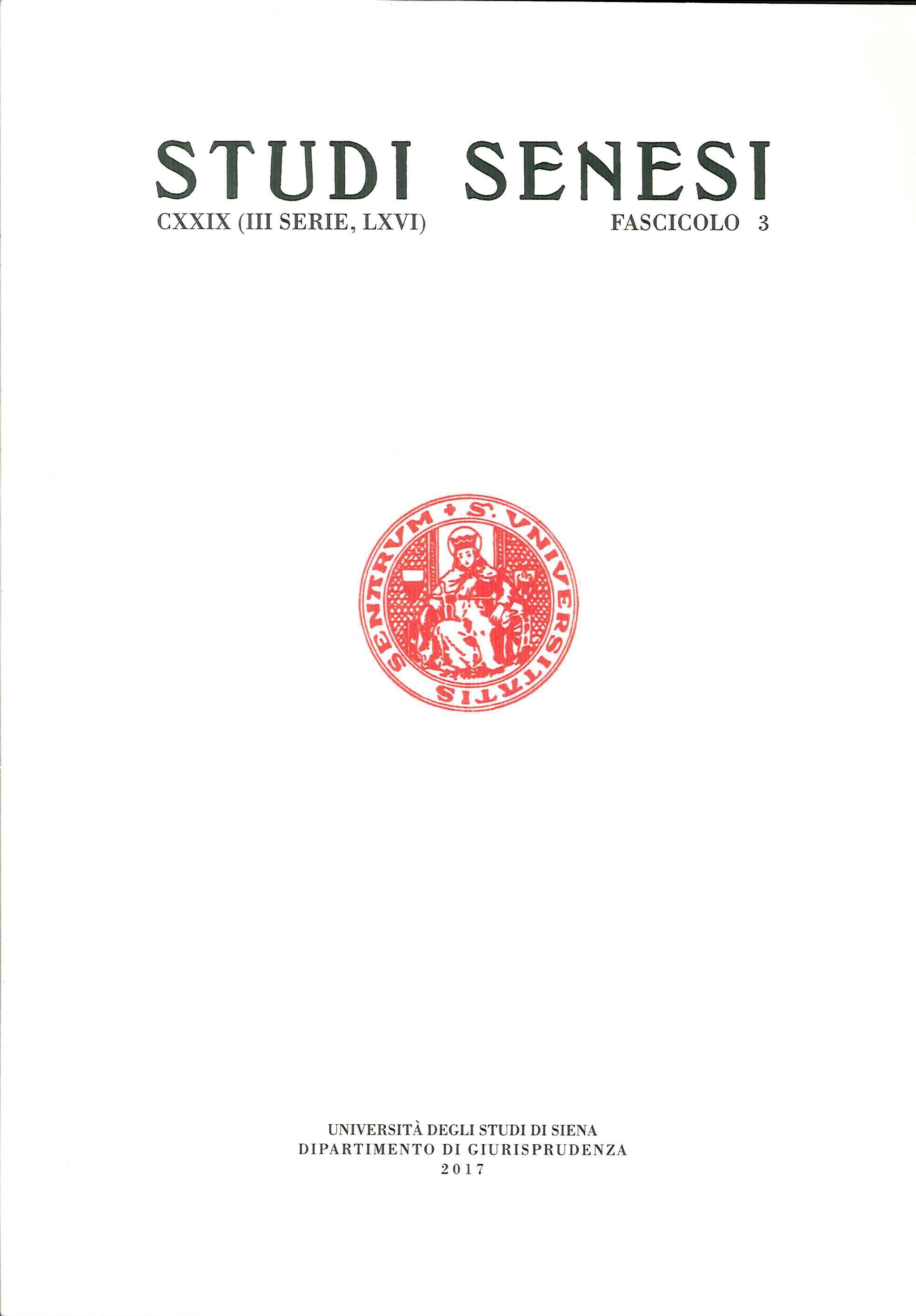 Studi Senesi. CXXIV. (III Serie)). LXVI. Fascicolo 3