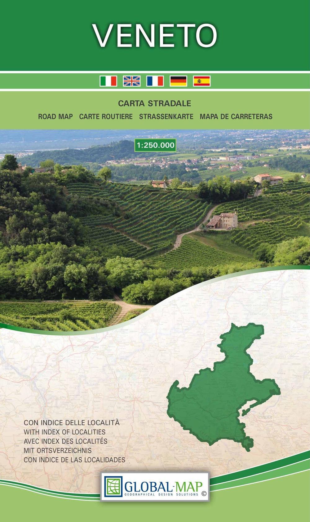 Veneto. Carta stradale della regione 1:250.000 (carta in Tyvek cm 86x96)