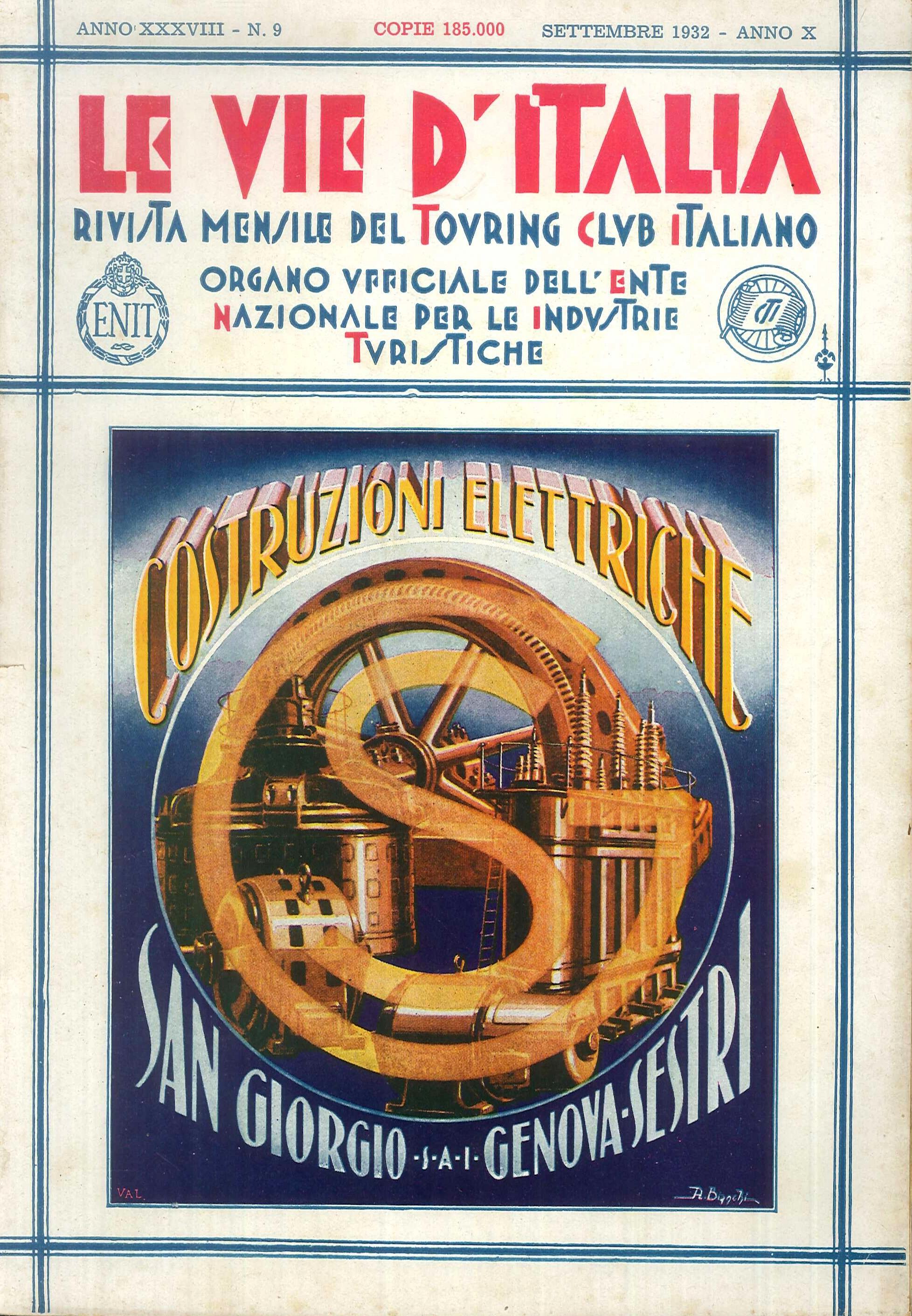 Le Vie d'Italia. Annata Inompleta N. 2-3-4-5-6-8-9-10-11-12. 1932. Rivista Mensile del Touring Club Italiano. Anno XXXVIII