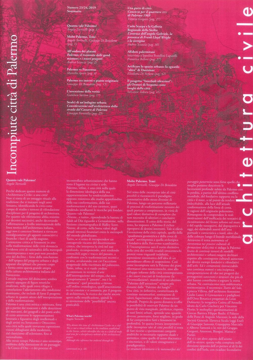 Architettura Civile n. 23/24, 2019. Incompiute città di Palermo