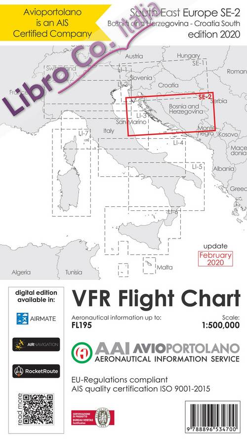 Avioportolano. VFR flight chart SE 2. South East Europe. Croatia south, Bosnia and Herzegovina. ICAO annex 4 - EU-Regulations compliant. Ediz. italiana e inglese