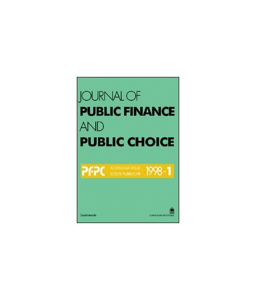 Journal of public finance and public choice. Vol. 1/1998.