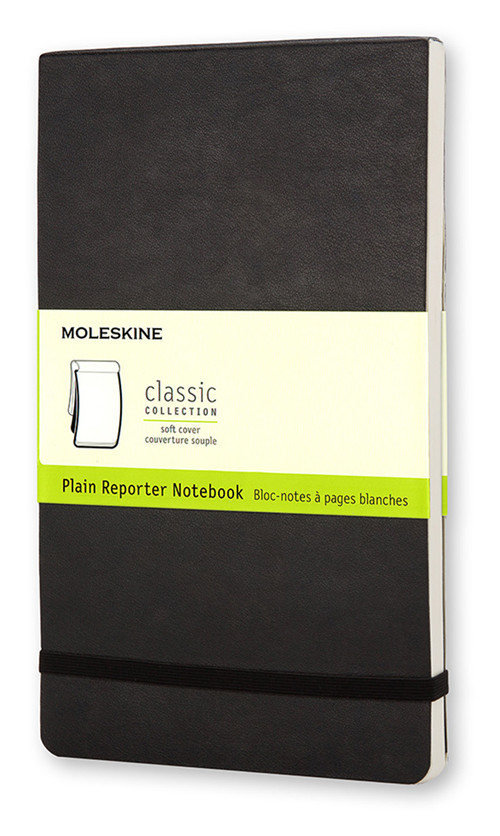 Moleskine Soft Cover Large Plain Reporter Notebook.