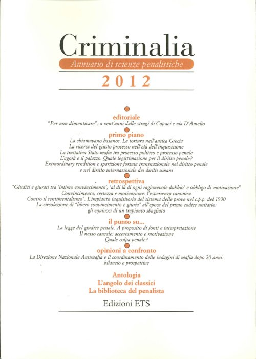 Criminalia 2012. Annuario di Scienze Penalistiche. Vol. 7.