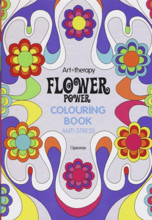 Art therapy. Flower power. Colouring book anti-stress.