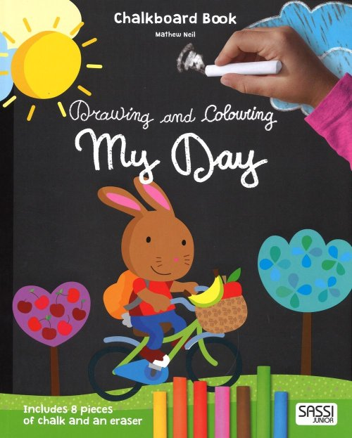 My day. Drawing and coloring. Chalkboard book.