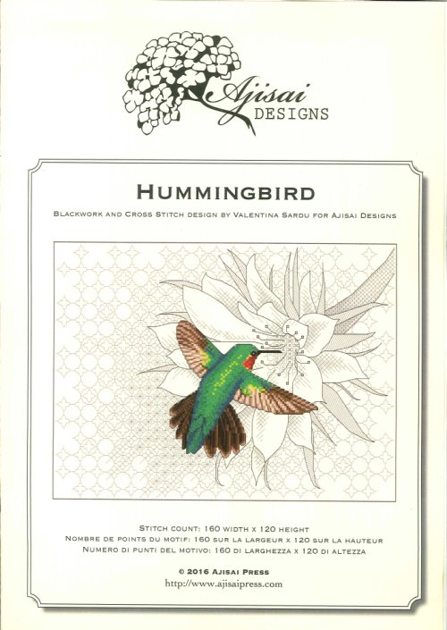 Hummingbird. Cross stitch and blackwork design.