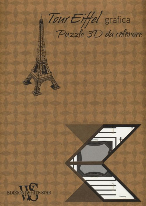 Tour Eiffel grafica. Puzzle 3D da colorare.