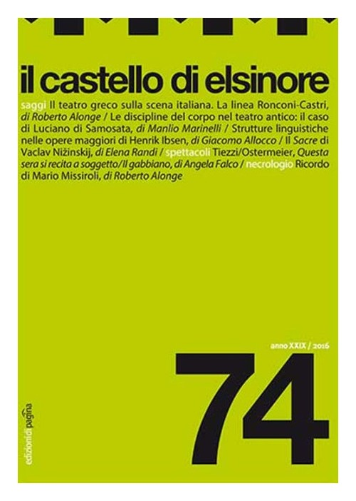 Il castello di Elsinore (2016). Vol. 74.