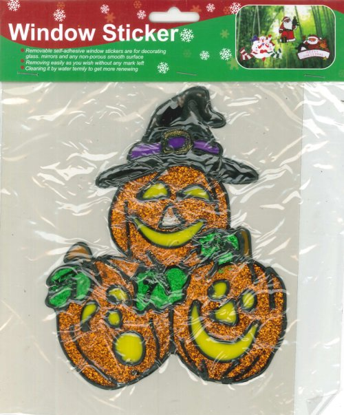 Window Sticker halloween. Adesivi per finestre tema halloween. Glitter Pumpkin/Glitter Zucca.