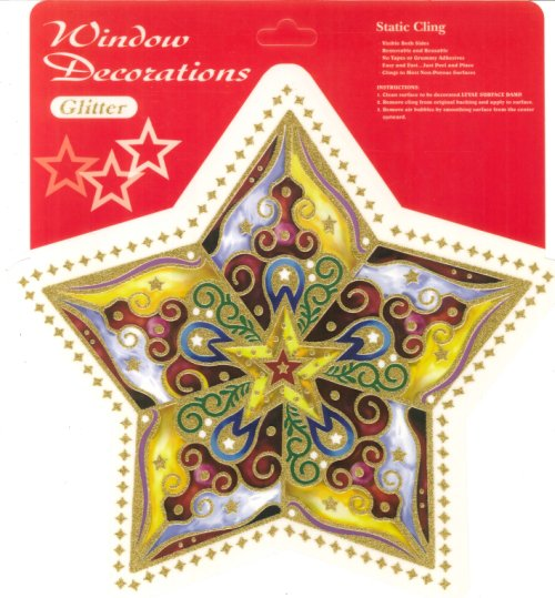 Window Stickers decorations glitter - christmas. Confezione 2. cm 30x25.