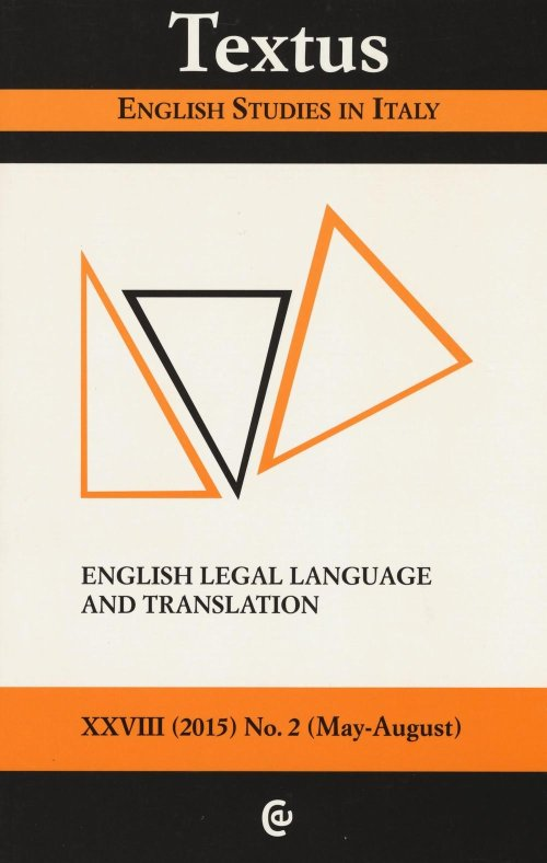 Textus. English studies in Italy (2015). Vol. 2: English legal language and translation.