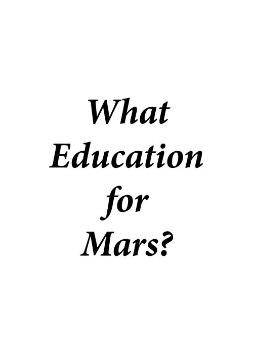 What education for Mars?